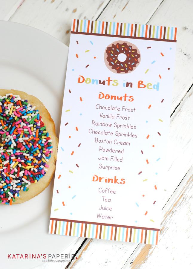 Free printable donut breakfast menu
