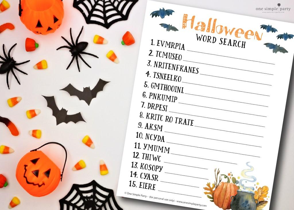 Halloween-word-scramble