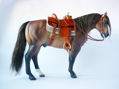 Commission 008 - tan western saddle using resin saddle tree and stirrups
