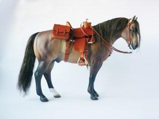 Commission 008 - tan western saddle using resin saddle tree and stirrups