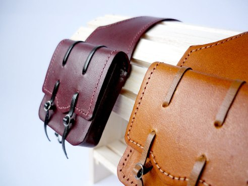 Mahogany and tan saddlebags