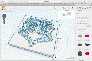Screenshot of 3D stamp for saddlebag flap in Tinkercad