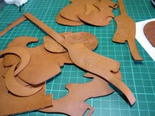 Dyed leather in Tan before any edging or conditioning, rather pale and uninteresting!