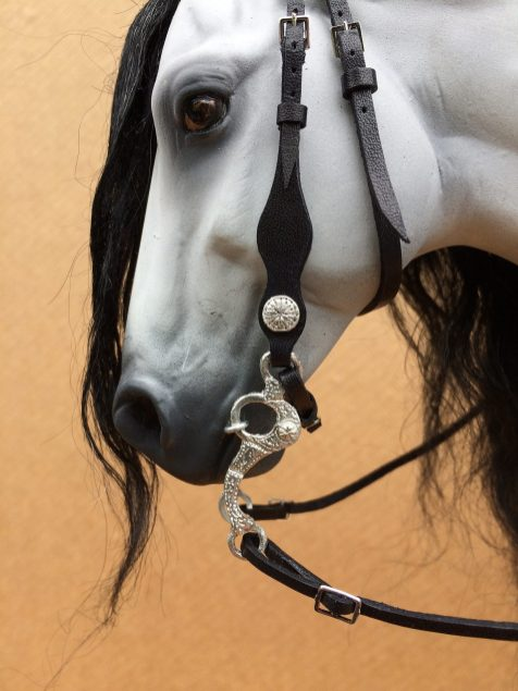 black embossed bridle with etched bit