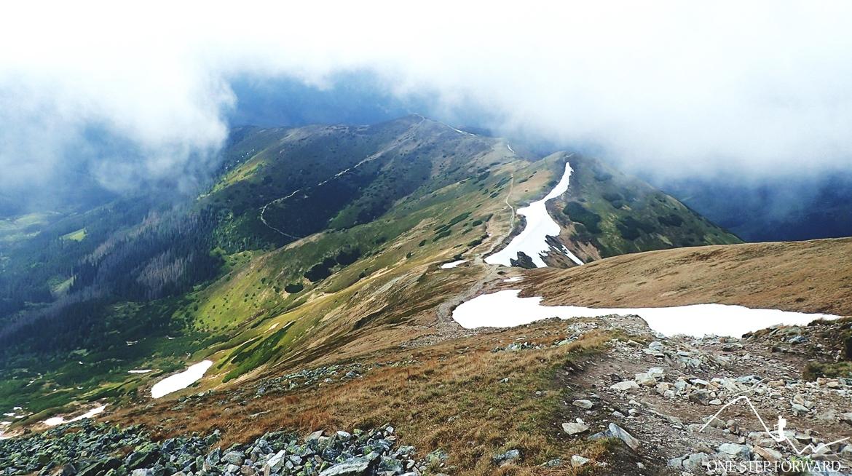 Widoki z Kończystego Wierchu na Dudową Przełęcz (1815 m n.p.m.), kopę Czubika (1845 m n.p.m.) i Trzydniowiański Wierch (1758 m n.p.m.)