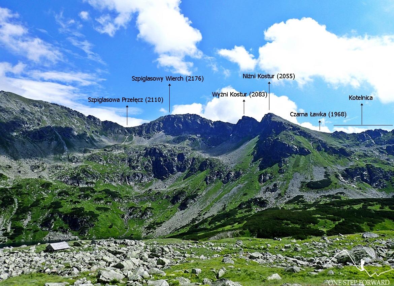 Wyraźnie widać szlak prowadzący na Szpiglasową Przełęcz