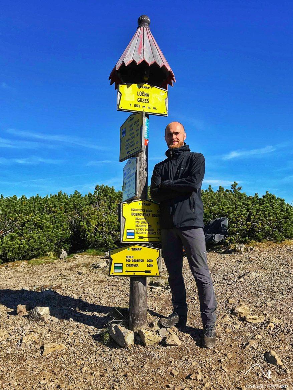 Autor bloga na szczycie Grzesia w Tatrach Zachodnich