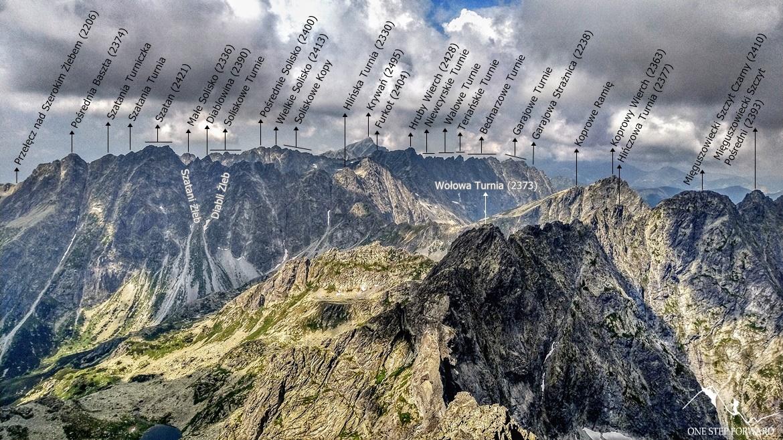 Rysy - panorama w stronę Doliny Mięguszowieckiej, Krywania i Koprowego Wierchu