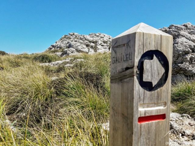 uig d'en Galileu - oznakowanie szlaku na Majorce