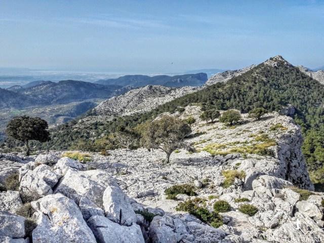 Widok z Na Franquesa na Puig de L'Ofre - Ruta de Tres Miles, Majorka- Ruta de Tres Miles, Majorka
