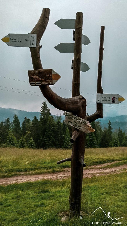 Na Turbacz - drogowskaz na Wisielakówce