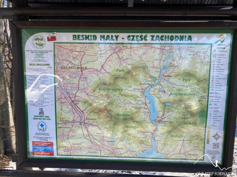 Mapa Beskidu Małego na Przełęczy Przegibek