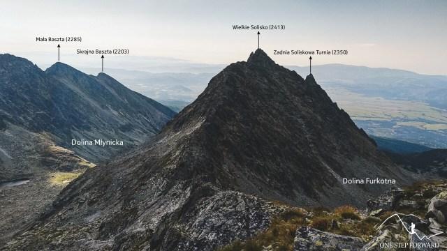 Panorama z Furkotu - widok na Wielkie Solisko oraz Małą i Skrają Basztę