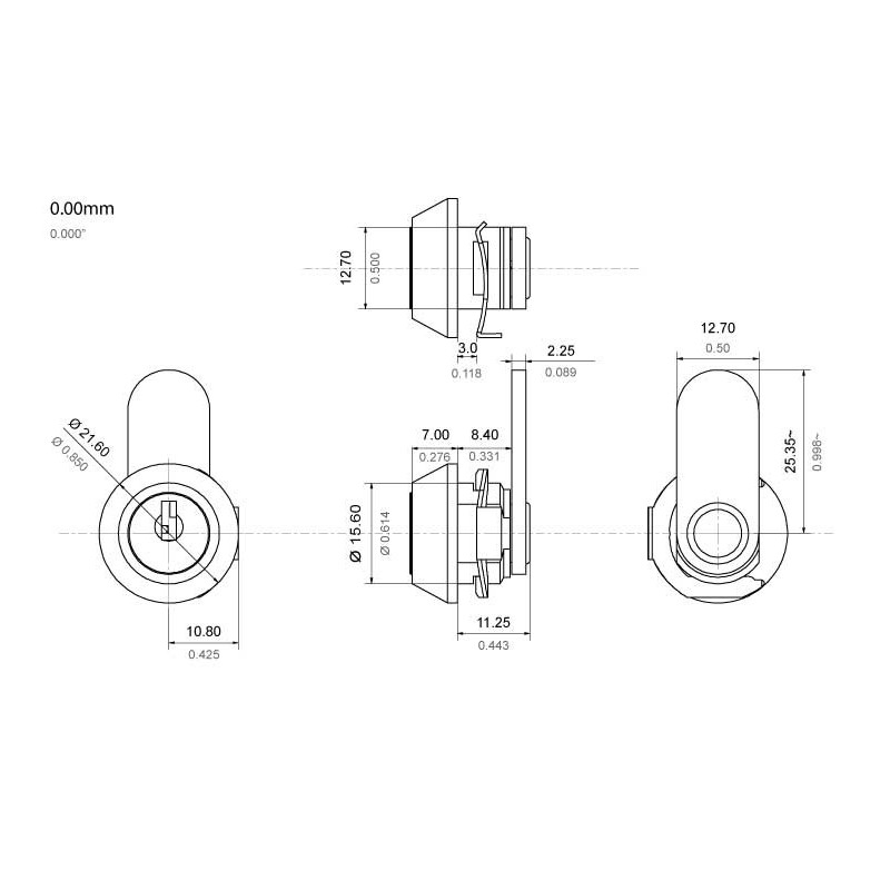 Micro size, 3 disc, 8mm, fast fit cam lock, operated by