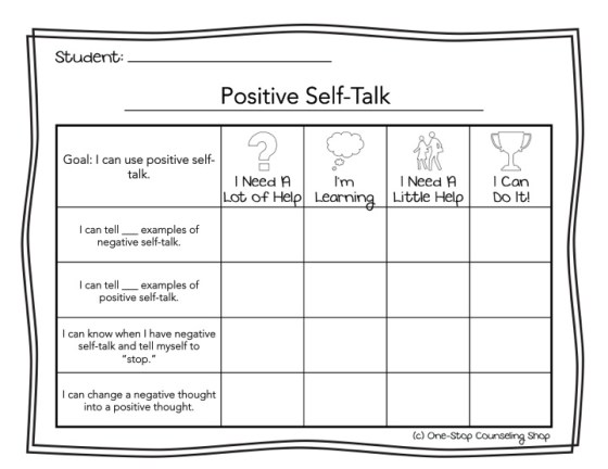 Positive Self-Talk Rubric
