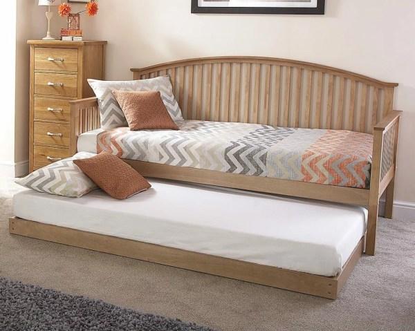Oak Veneer Curved Wooden Day Bed Frame Set Brand