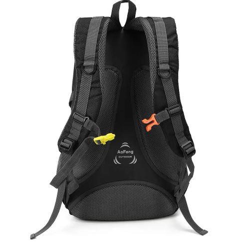 Image of black backpack buckles
