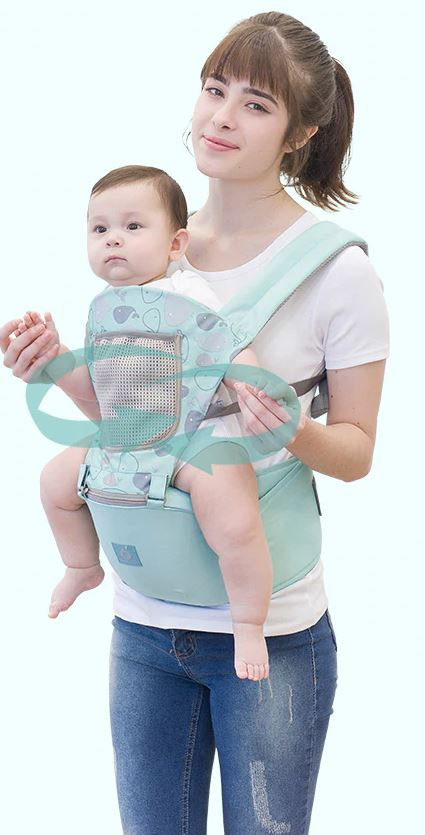 Mom wearing a Baby Carrier with a baby in it.