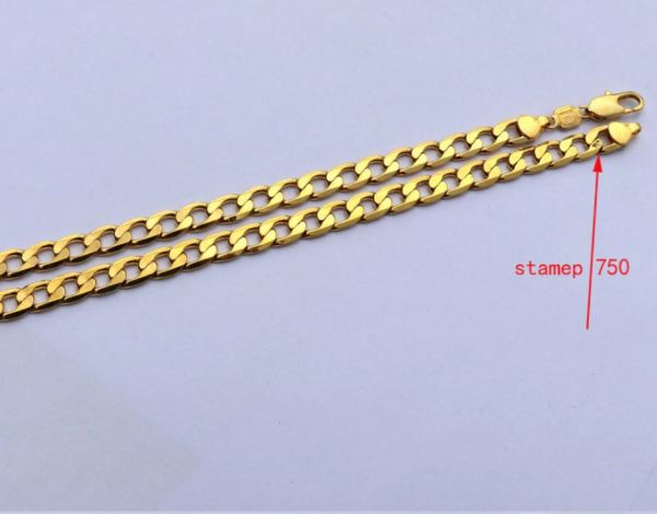 Gold plated necklace showing 750 stamep