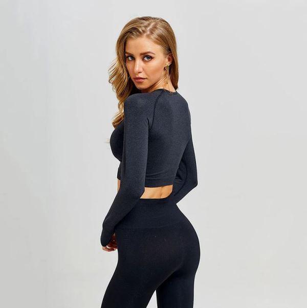 Model wearing a black yoga set