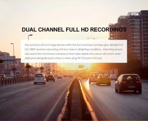Car driving down the street showing Dual Channel Full HD Recording