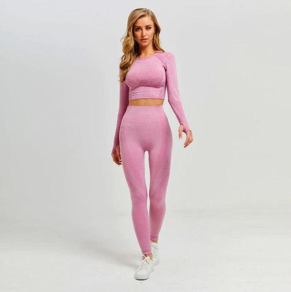 Model wearing a pink yoga set