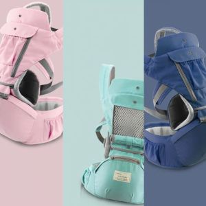 Baby carrier in 3 different colors, pink, mint green and navy blue.