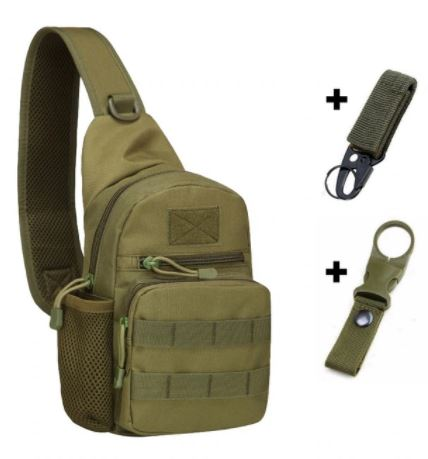 Army Green colored backpack with hooks