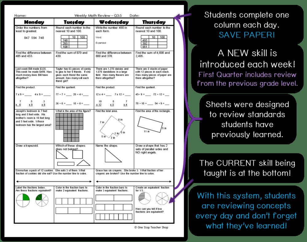 medium resolution of Spiral Math Homework to Reinforce Standards   One Stop Teacher Shop