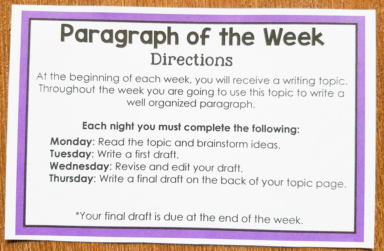 Paragraph Of The Week Improve Student Writing