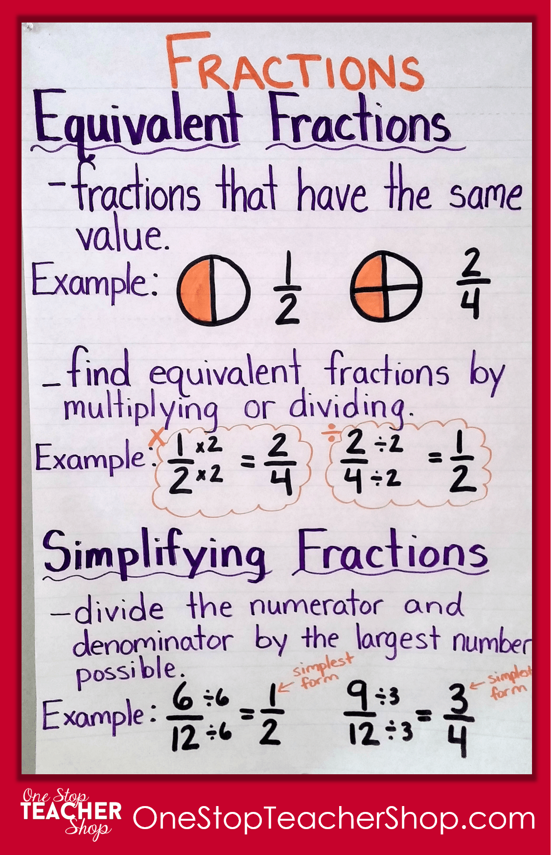 Carson Dellosa Math Worksheets Equivalent Fractions