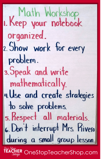 Math Workshop Anchor Chart - Check out my collection of anchor charts for math, reading, writing, and grammar. I love anchor charts even though I'm not so great at making them! Also, get some tips for using anchor charts effectively in your classroom.
