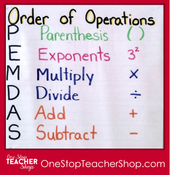 Order of Operations Anchor Chart - Check out my collection of anchor charts for math, reading, writing, and grammar. I love anchor charts even though I'm not so great at making them! Also, get some tips for using anchor charts effectively in your classroom.