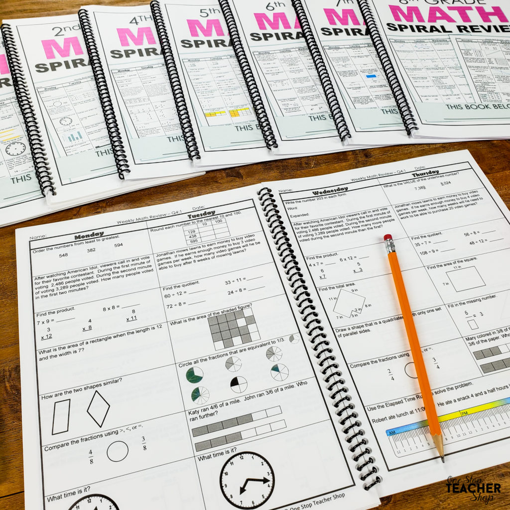 hight resolution of Math Spiral Review \u0026 Quizzes   Homework or Morning Work