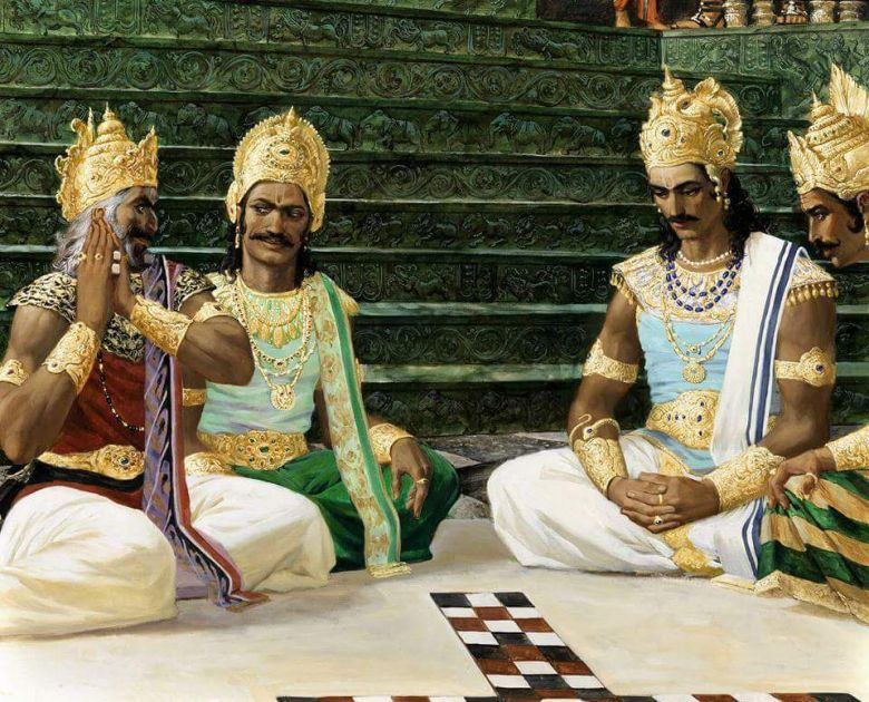 Pandavas losing in the game of dice in Mahabharat