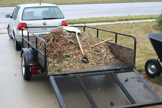 3/4 yard of wood chip mulch from our municipal yard