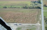 View of corn maze from air near Oberlin, Ohio