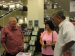 chatting with friends Karen Clark of Lorain and Joe Velasquez of Newark at book signing at Barnes and Noble Westlake