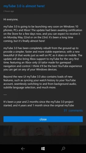 myTube updated to 3 0, brings Xbox support and many other