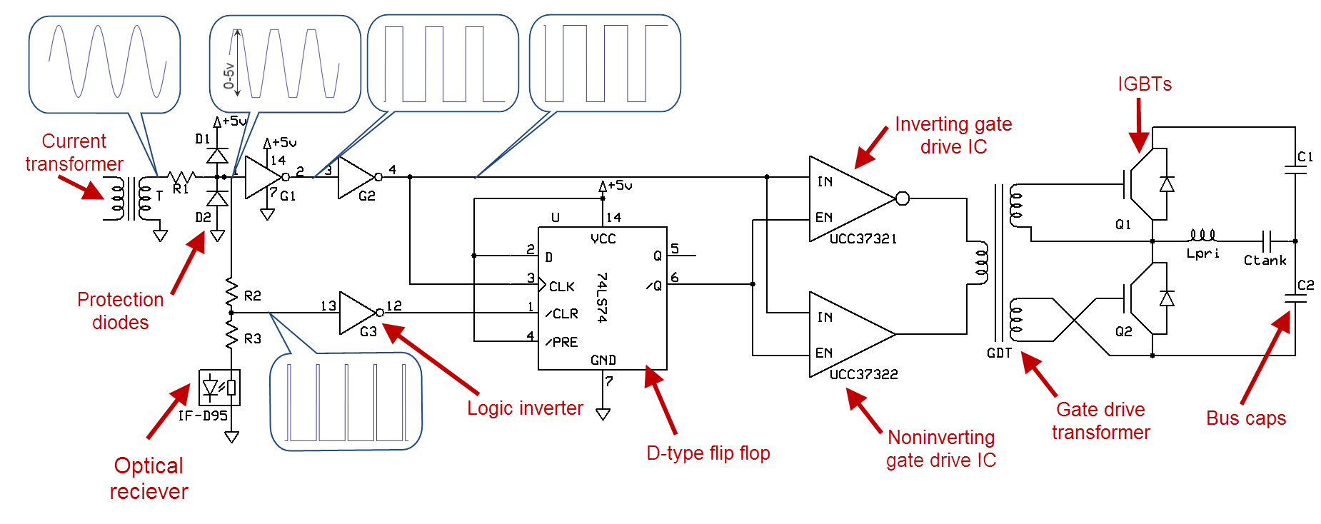 hight resolution of on the negative portion of the cycle the bottom diode conducts and charges the bottom capacitor the voltage across the load is the sum of the voltages on