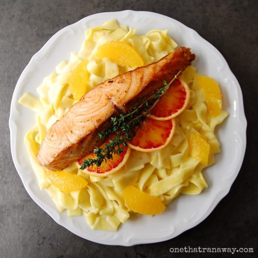 orange and thyme flavoured pasta with crispy salmon