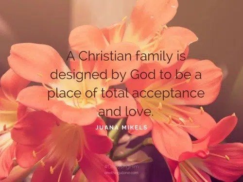 A Christian family is designed by God to be a place of total acceptance and love.