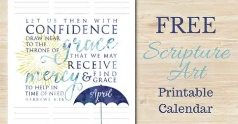 Free Scripture Art Printable Calendar:: April