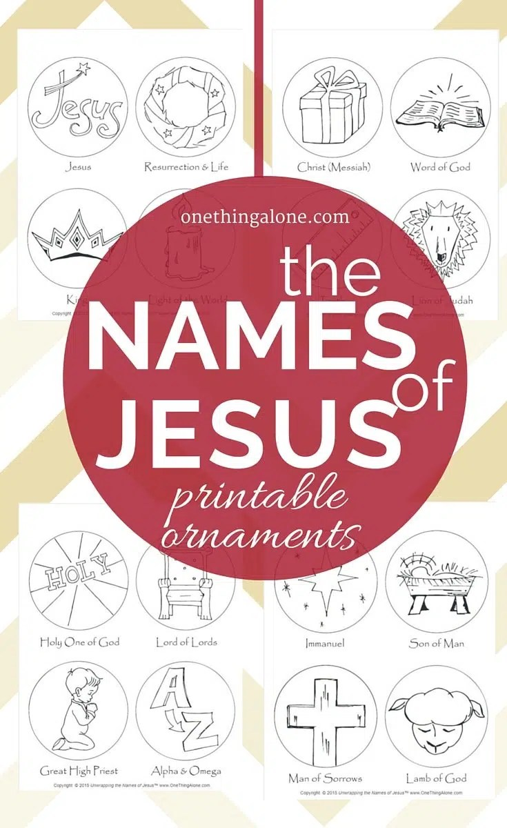 FREE Names of Jesus Printable Ornaments | One Thing Alone