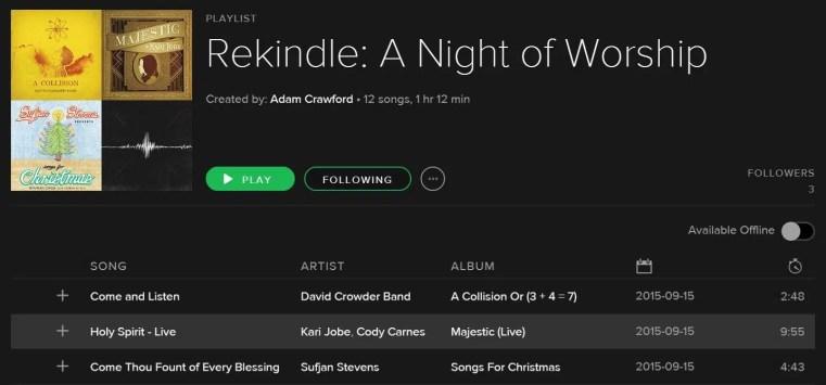 rekindle playlist