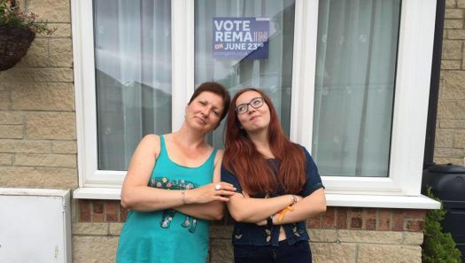 Supporting REMAIN before Referendum Day with my mum