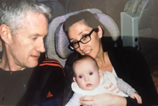 A seasoned traveller at 4 months old....heading back to Oz.