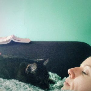 photo of my cat and me having a snuggle