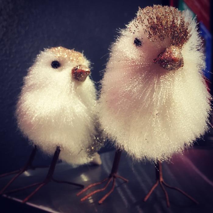 photo of sparkly Christmas birds