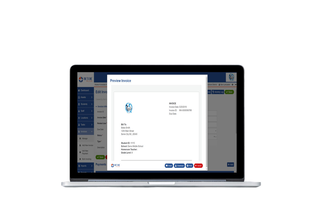 One to One Plus Invoice Preview